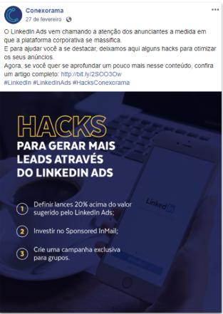 Divulgação de Landing Pages em redes sociais