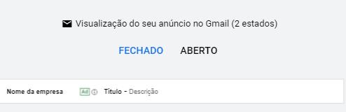 Visualização do Gmail Ads em Desktop