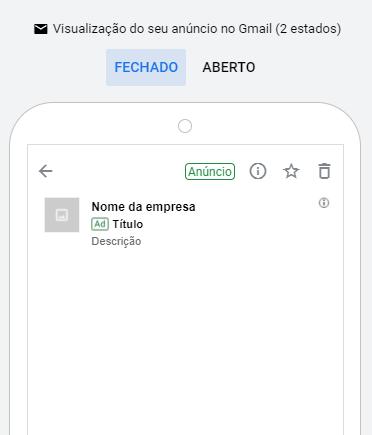Print de como fica o Gmail Ads em aparelhos mobile