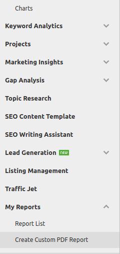 importar relatórios do SemRush em PDF