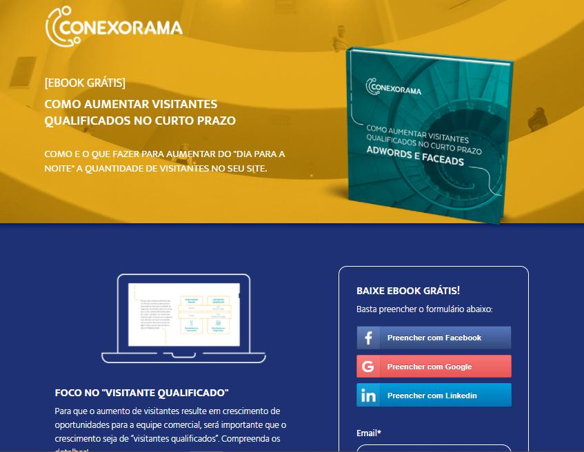 Exemplo de uma Landing Page da Conexorama