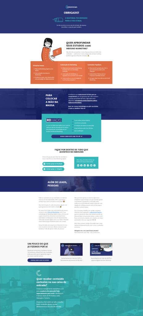 Modelo de Thank You Page Intermediária utilizada nos materiais da Conexorama
