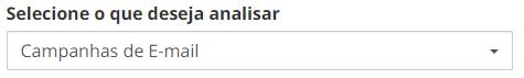 """Print do RD que mostra a ferramenta onde é possível selecionar os canais que deseja solucionar. A imagem mostra a barra do drop down  selecionada em """"Campanhas de E-mail"""""""