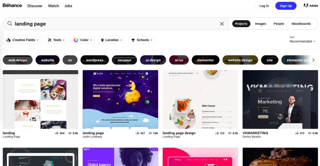 Print da tela do behance com a busca por referências de Landing Pages