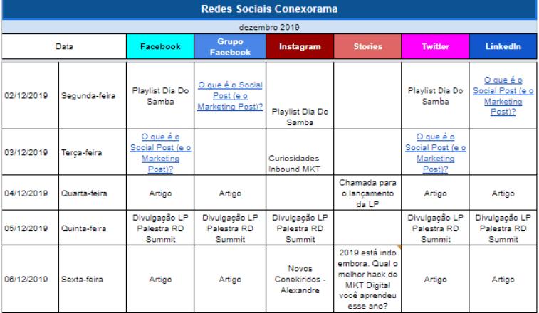 Calendário Editorial de Redes Sociais