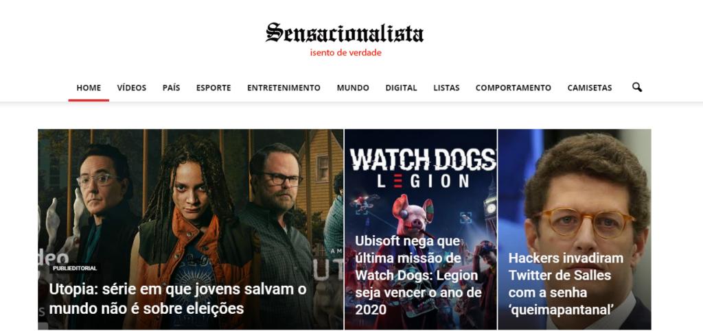 Print da home do site Sensacionalista, com diversas chamadas utilizando o clickbait