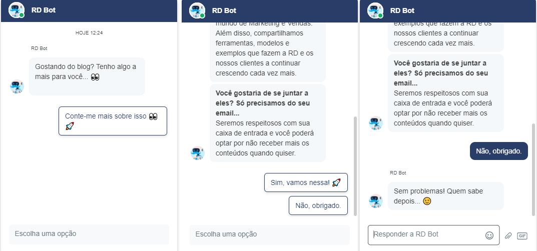 Print de uma simulação de conversa com o chatbot da RD Station