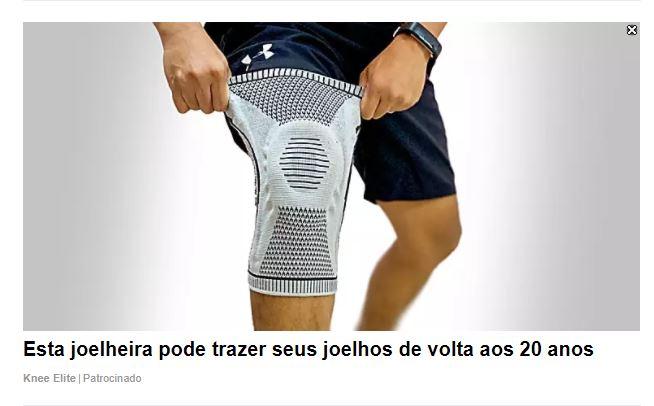 """Foto de um homem usando uma joelheira com a seguinte chamada """"Esta joelheira pode trazer seus joelhos de volta aos 20 anos"""""""