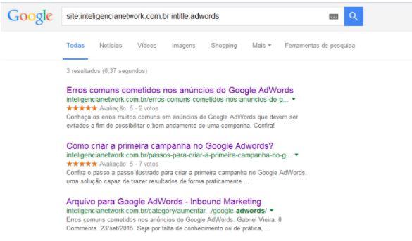 Utilizar comando Intitle no Google