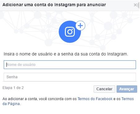 Adicionar conta do Instagram para anunciar