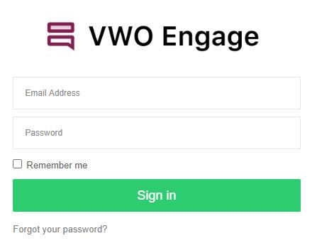 Formulário para criar conta no VWO Engage
