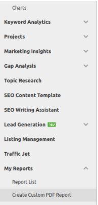 O SemRush oferece opções de criar relatórios em PDF