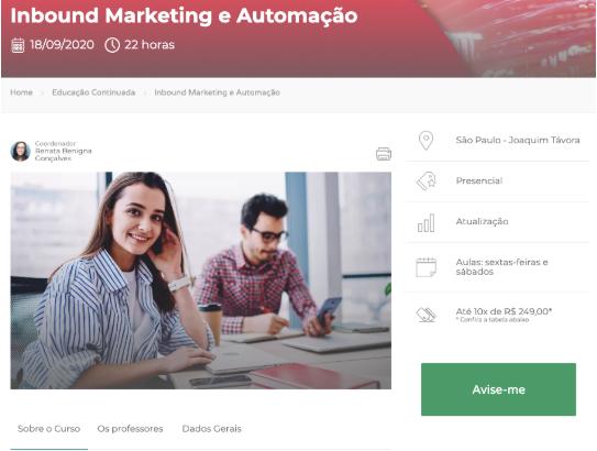 A imagem mostra o curso de inbound marketing e automação da ESPM