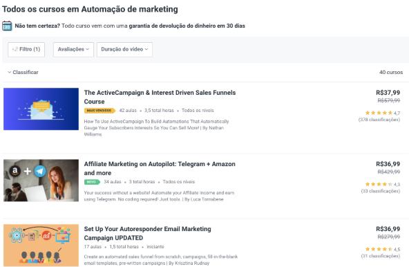 A imagem mostra os cursos de automação de marketing da Udemy