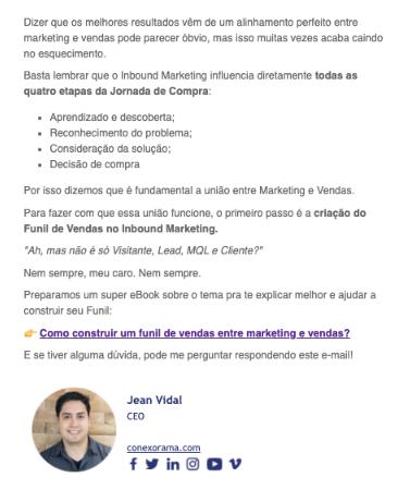 Exemplo de email de nutrição de leads