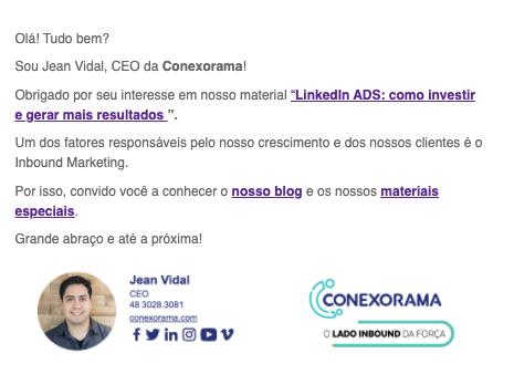 Exemplo de email transacional utilizado na Conexorama