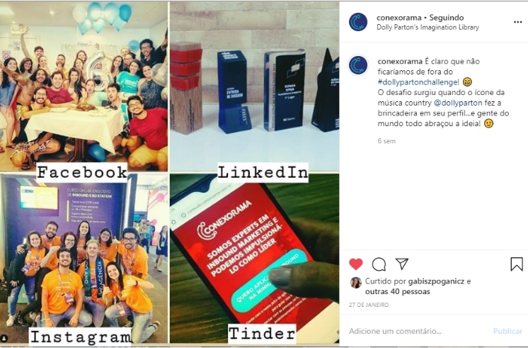 Exemplo de postagem no Instagram