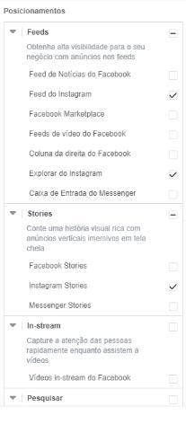 posicionamentos feed e stories