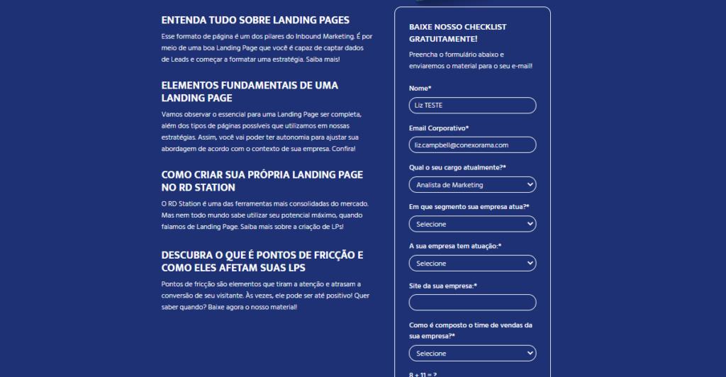 A imagem mostra o print de uma landing page da conexorama onde está um exemplo de formulário