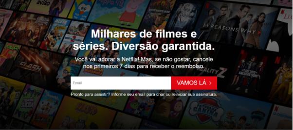 Modelo Free SaaS Trial da Netflix