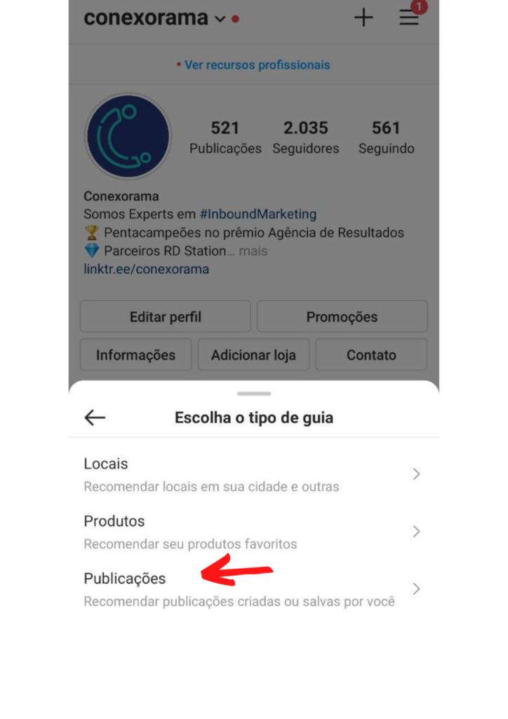 Print do passo 3 da guia do instagram