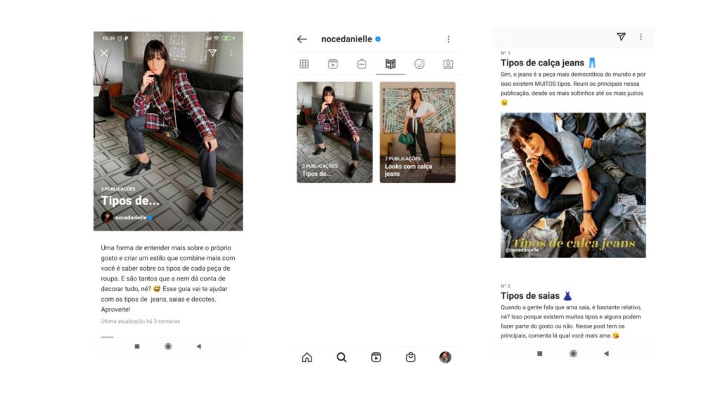 Print do perfil @nocedanielle, que apresenta guias conforme os tipos de roupas e uma breve descrição. São três prints que mostram uma modelo vestindo diversos looks e com uma descrição das peças