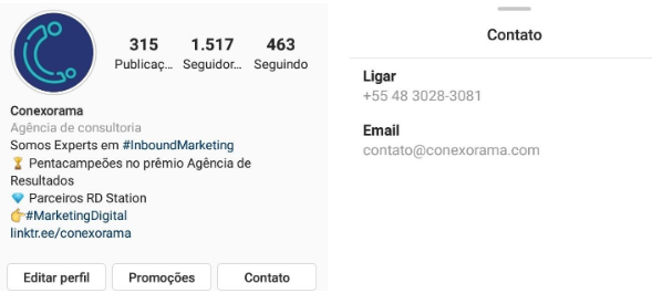 Conta Comercial da Conexorama no Instagram