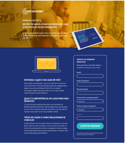 Landing Page para inscrição em webinar