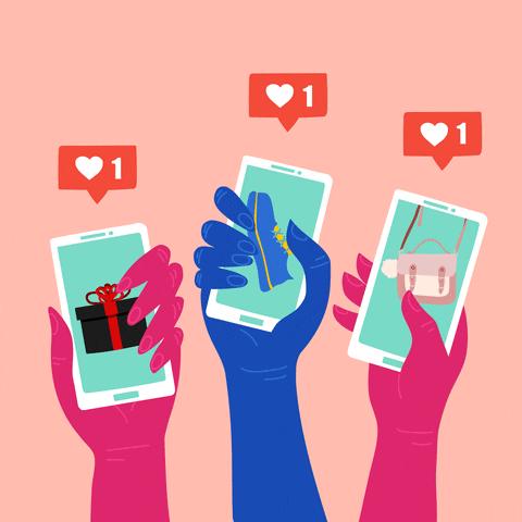 Gif em uma paleta de cor rosa, com3 mãos segurando cada uma um celular e clicando na tela como se estivessem dando Likes