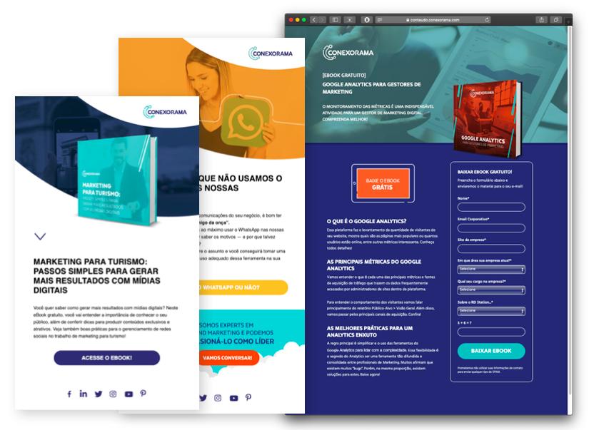 Modelos de e-mail marketing e landing pages - Conexorama