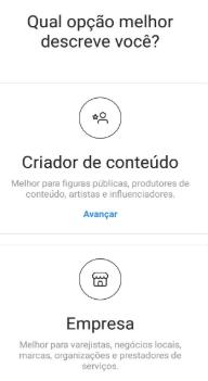 Opção de conta comercial no Instagram