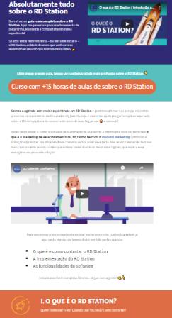 Exemplo de página épica da venda do curso de marketing da Conexorama, o RD Hacks