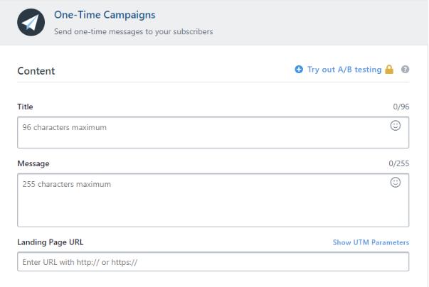 Dashboard para personalizar notificação push