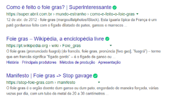 Resultado de pesquisas padrão do Google