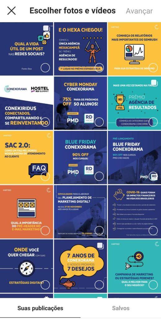 Print do perfil do instagram da Conexorama que mostra as opções de postagens que temos para incluir nas guias