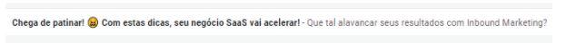 Pré-header exibido na caixa de entrada do e-mail