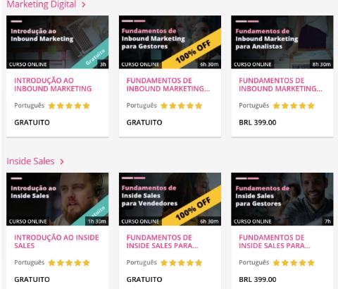 A imagem mostra alguns cursos disponíveis na plataforma RD University, como: Marketing Digital, Inbound Marketing, Vendas, Customer Success, Gestão, além de outros treinamentos para agências digitais.
