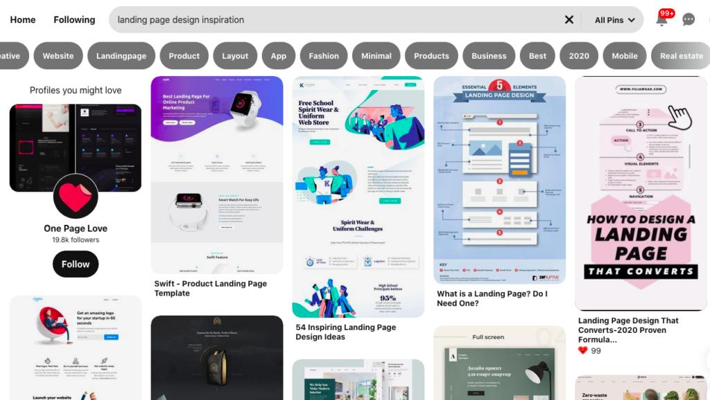 A imagem mostra um print de uma busca por referências de Landing Pages no Pinterest