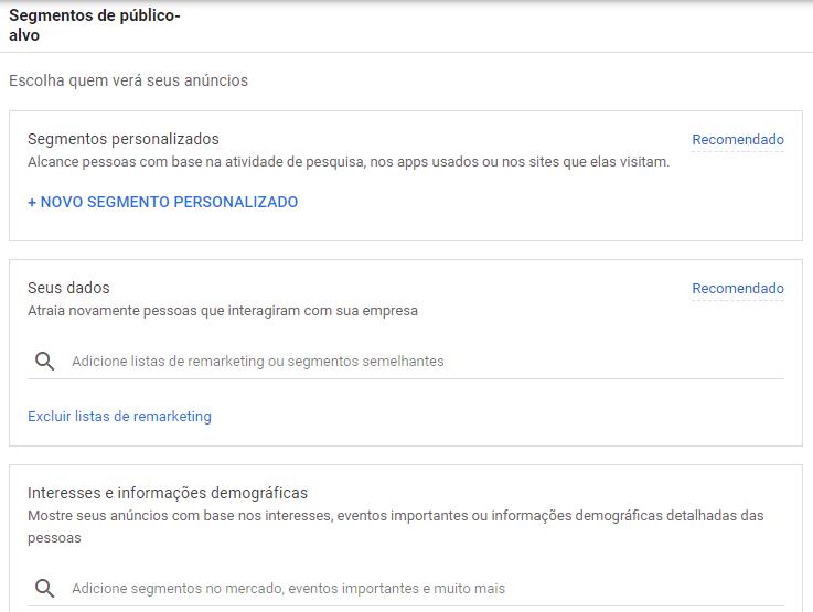Print com as opções de segmentação de público no Gmail Ads