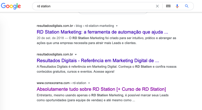 "O print traz a SERP da busca pela palavra-chave ""RD Station"""