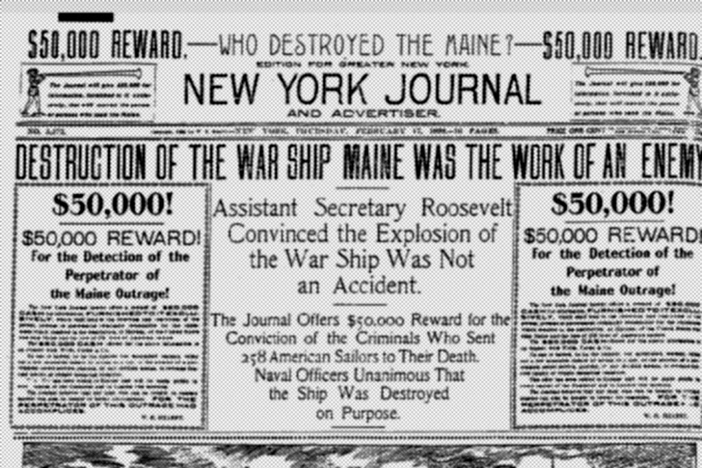 "Capa do New York Jornal na época do ""yellow press"""